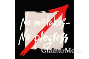 """Термонаклейка """"No mistakes - no progress"""" 9x9 см, черный фон"""