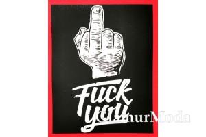 """Термонаклейка """"F**k you"""" 12.5х10 см, черный фон"""