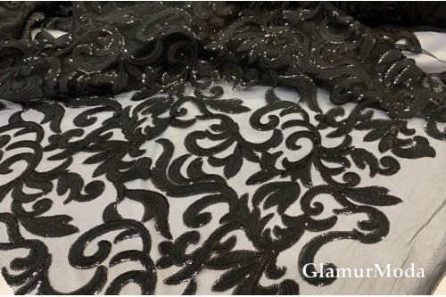 Гипюр с пайетками на фатине черного цвета