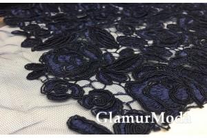 Шикарный гипюр тёмно-синего цвета для дорогих платьев