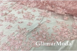 Шикарное кружевное полотно розового цвета 135 см