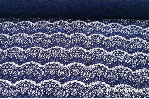 Гипюр Реснички тёмно-синего цвета