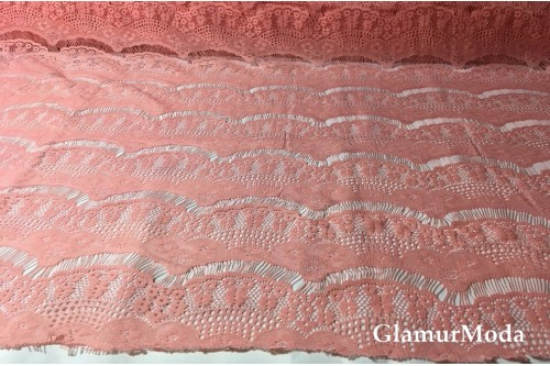 Гипюр Реснички кораллового цвета