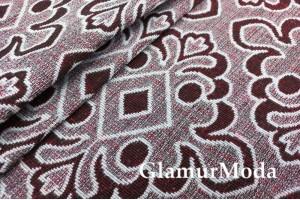 Ткань Гобелен Орнамент на бордовом фоне, 150 см