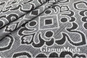 Ткань Гобелен Орнамент на сером фоне, 150 см