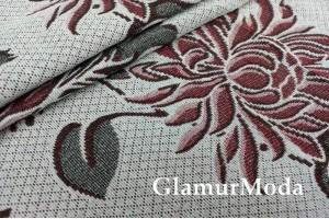 Ткань Гобелен бордовые цветы на сером фоне, 200 см