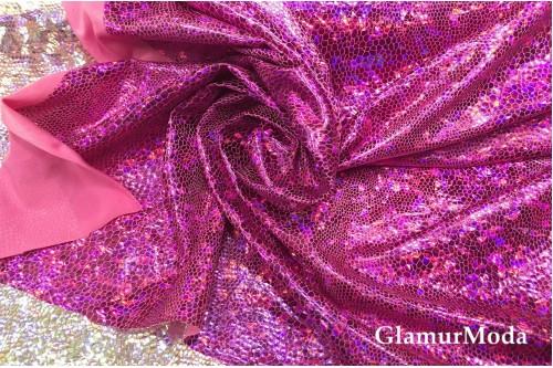 Голограмма диско малинового цвета с крупным рисунком