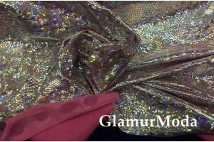 Голограмма диско серебряного цвета с розовым оттенком