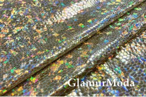 Голограмма диско с крупным рисунком светло-золотого цвета