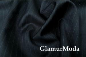 Костюмная ткань шерсть в полоску, чёрный антрацит цвет, арт. 6941, Италия