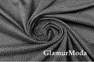 Костюмная ткань с вискозой серо-черные ромбы, арт. 7083, Италия