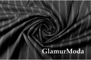 Костюмная ткань шерсть в полоску, чёрный цвет, арт. 7934, Италия