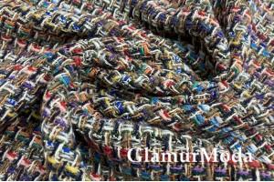 Костюмная ткань, разноцветная, плетение Шанель, Италия