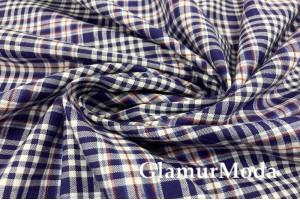 """Рубашечная ткань """"Клетка"""", темно-синий цвет, арт. 8632, Италия"""