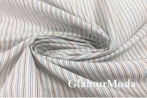 Рубашечный хлопок Полоска бордовая, голубая на белом фоне, арт. 8476/5, Италия