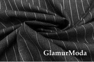 Костюмная шерсть, Широкая пунктирная полоска на темно-сером, арт. 7739, Италия