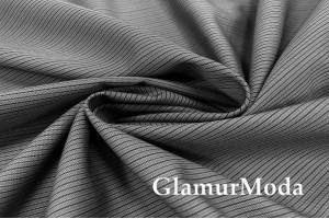Ткань костюмная с шерстью, Черная полоска на сером, арт. 7019, Италия