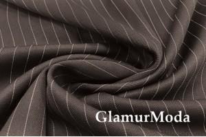 Костюмная ткань шерсть в полоску, темно-коричневый цвет, арт. 7979, Италия