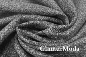 Костюмная шерсть, Ажурные ромбы серого цвета, арт. 8213, Италия