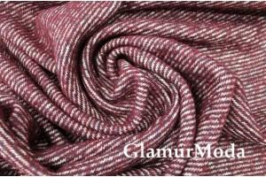 Ткань пальтовая с шерстью, диагональная полоска бордовый цвет, арт.7656, Италия