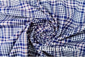 """Рубашечная ткань """"Клетка"""", синий цвет , Италия"""