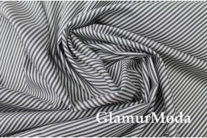 Рубашечный хлопок Полоска графитовая, белая, арт. 8464, Италия