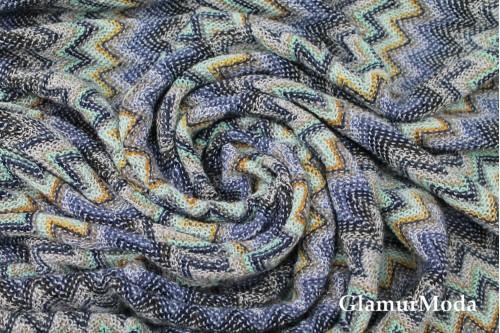 Вязаный трикотаж разноцветные зигзаги, арт. 7645, Италия