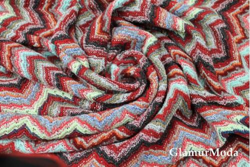 Вязаный трикотаж разноцветные зигзаги, арт. 7651, Италия