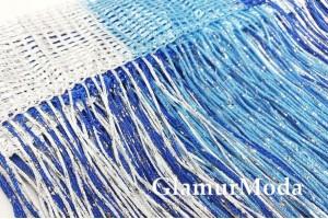 Нитяные шторы Кисея, сине-бело-голубой цвет с люрексом