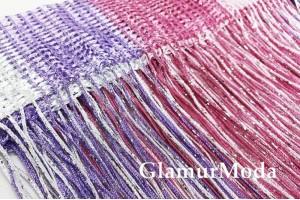 Нитяные шторы Кисея, розово-фиолетовый цвет с люрексом