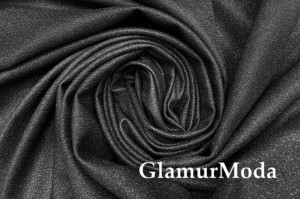 Ткань бифлекс RIHANNA с блеском, черного цвета, Турция