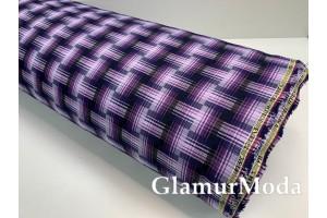 Ткань костюмная клетка фиолетовая, арт. 2500-3, Турция