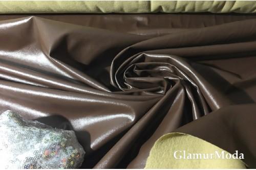 Искусственная кожа (эко кожа) темно-коричневого цвета, глянец