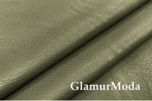 Искусственная кожа (экокожа) болотного цвета, жатая