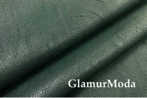 Искусственная кожа (экокожа) темно-зеленого цвета, жатая