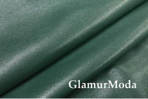 Искусственная кожа (эко кожа) темно-зеленого цвета, глянец
