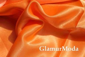 Ткань креп-сатин оранжевого цвета