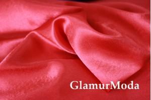 Ткань креп-сатин алого цвета