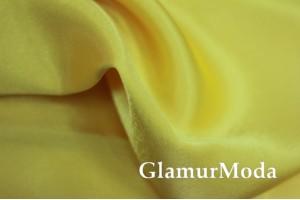 Ткань креп-сатин ярко-желтого цвета
