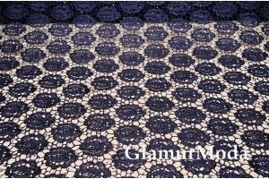 Кружевное полотно 6018 темно-синего цвета