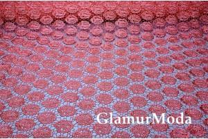 Кружевное полотно 6018 кораллового цвета