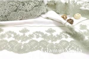 Кружево Blumarine (Блюмарин) серо-мятного цвета