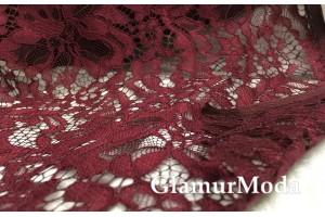 Кружевное полотно красивого цвета марсала с  рисунком цветы