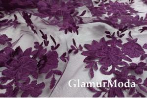 Кружевное полотно Цветы фиолетового цвета, 135 см