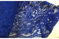 Кружевное полотно василькового цвета рисунок с цветами