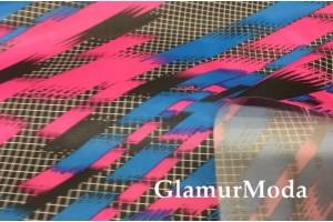 Плащевая ткань Дюспо с рисунком неоновые полосы
