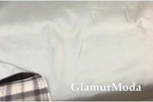 Курточная ткань на флисе серо-голубого цвета