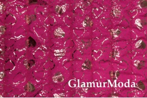 Курточная ткань на синтепоне сердечки на ярко-розовом фоне