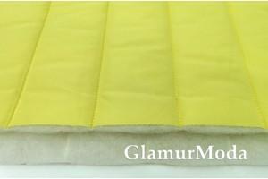 Ткань курточная стёжка на синтепоне полосы, жёлтый  цвет