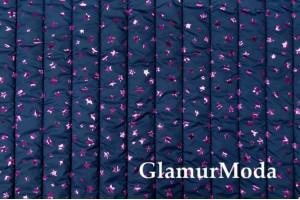 Курточная ткань на синтепоне фиолетовые звездочки на темно-синем фоне